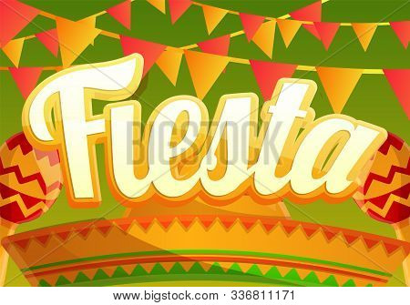 Fiesta Party Concept Banner. Cartoon Illustration Of Fiesta Party Vector Concept Banner For Web Desi