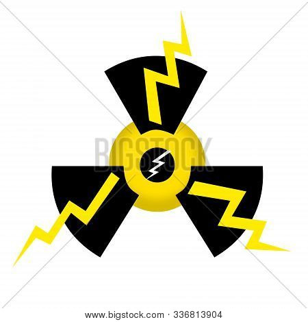 Nuclear Power Icon With Thunder Bolts Isolated On White Background