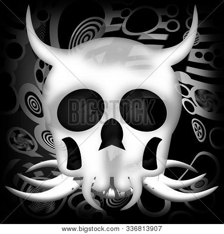Death Skull With Horns On Black Background