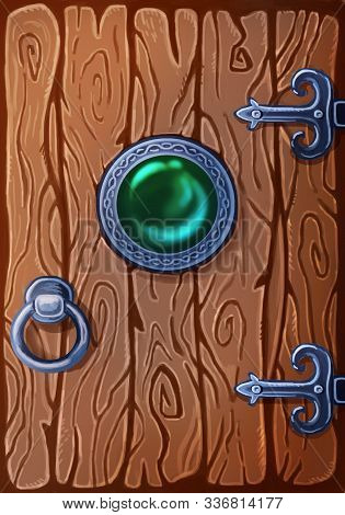 Game Art Wooden Door With Gem In The Middle. Entrance To Stone Dungeon Or Secret Room With Treasures