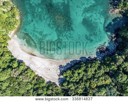 Aerial View Of Tropical Biesanz Beach And Coastline Near The Manuel Antonio National Park, Costa Ric