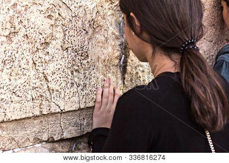 Jerusalem, Israel - 17 November, 2019: Women Pray At The Western Wall A.k.a
