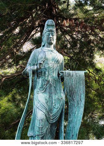 Bronze Japanese Statue Of Kannon, Bodhisattva Avalokiteshvara