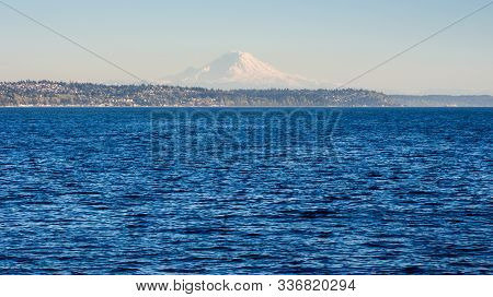 View Of Puget Sound With Mount Rainier At The Background At Sunset - Seattle, Wa, Usa