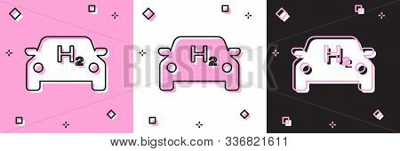 Set Hydrogen Car Icon Isolated On Pink And White, Black Background. H2 Station Sign. Hydrogen Fuel C