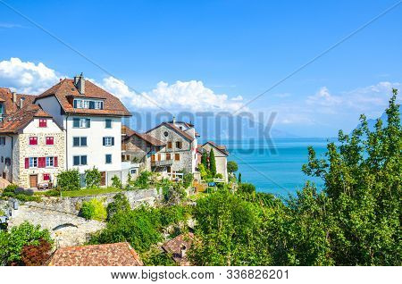 Amazing Winemaking Village Rivaz In The Swiss Lavaux Wine Region. Houses And Vineyard Located On The
