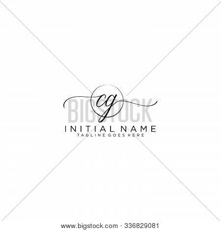 Cg Initial Handwriting Logo With Circle Template Vector.