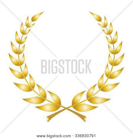 Laurel Wreath Icon. Emblem Made Of Laurel Branches. Golden Laurel Leaves Symbol Of High Quality Oliv