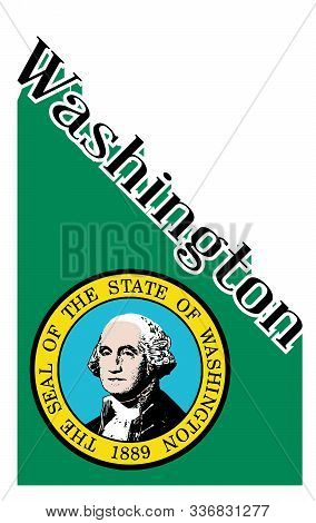 Text In Black And White Proclaiming Washington With A Shadow Backdrop And State Flag