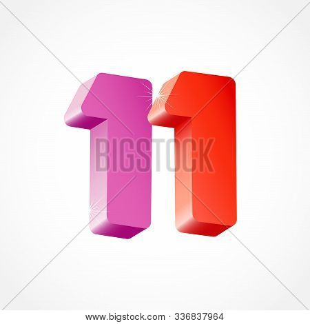 11 Th Anniversary Numbers. 11 Years Old Coloured Logotype. Age Congrats, Congratulation Idea. Isolat