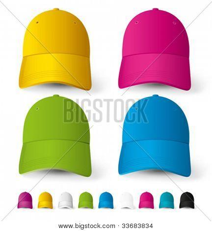 Vector baseball caps, big set of different colors