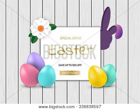 Easter Bunny with eggs on wooden sale background vector illustration EPS 10/ Happy Easter, easter bunny, easter background, easter banners, easter flyer, easter design,easter with flowers on red background, Copy space text area, vector illustration.