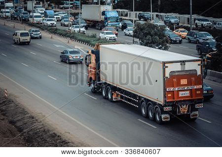 Samut Sakhon, Thailand - August 2019: Linfox Trucks Ran For Transportation On Rama 2 Road On August