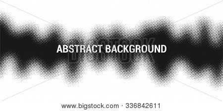 Monochrome Printing Raster. Abstract Halftone Gradient Background. Printing Raster. Dotted Illustrat