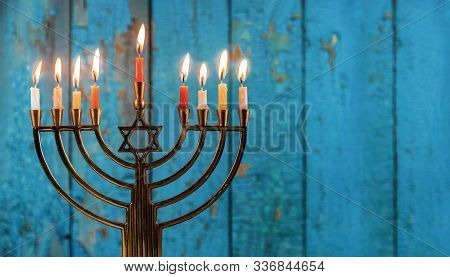 Hanukkah With Menorah Jewish Holiday Traditional Candelabra With Candles Menorah