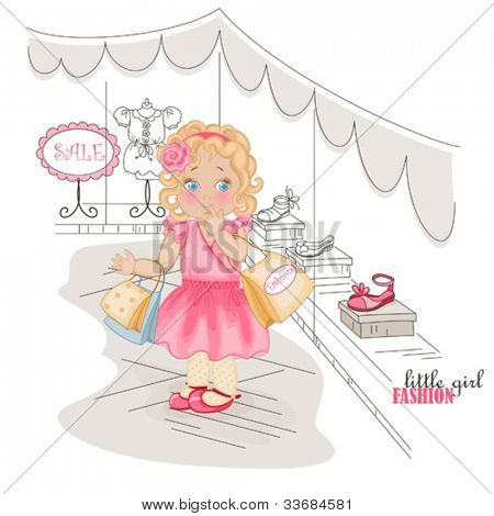 Fashion little girl with purchases in shopping near  show window