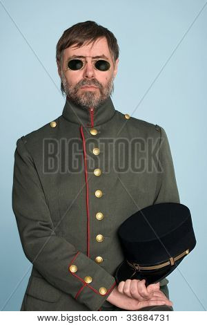 Man in the uniform of a military officer in the pince-nez.