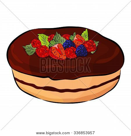 Cake With Strawberry, Raspberry, Mulberry, Mint And Chokolate Isolated On The White Background. Flat