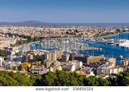 Cityscape Of Palma De Mallorca. Beautiful Aerial View Of Palma De Mallorca, Balearic Islands, Mallor
