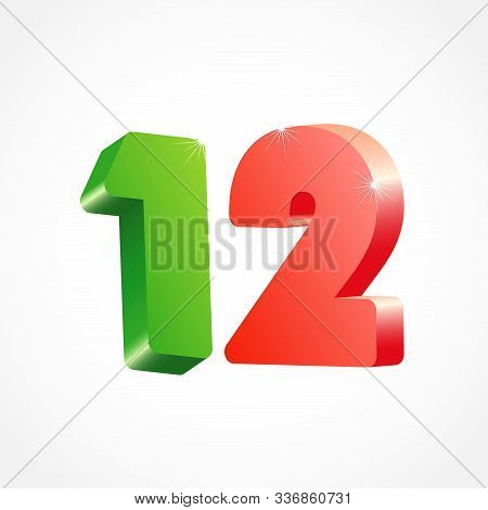 12 Th Anniversary Numbers. 12 Years Old Coloured Logotype. Age Congrats, Congratulation Idea. Isolat