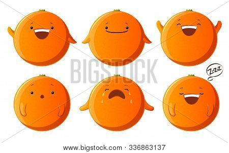 Set Cute Orange Characters. Kawaii Fruit Vector Characters Isolated On White Background