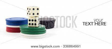 Dices With Stakes With Copy Space On White