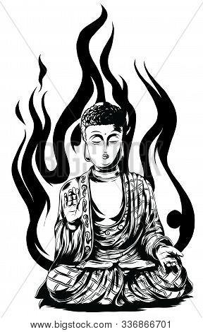Buddha Line Drawing. Sketch Of A Sitting Or Meditating Buddah Statue.