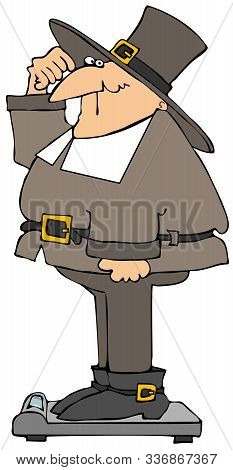 Illustration Of A Pilgrim Man Weighing Himself On Bathroom Scales.