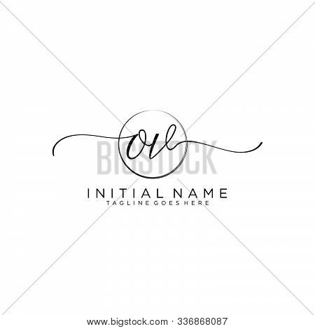 Ov Initial Handwriting Logo With Circle Template Vector.