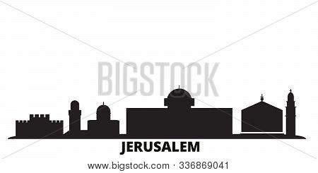 Israel, Jerusalem City Skyline Isolated Vector Illustration. Israel, Jerusalem Travel Cityscape With