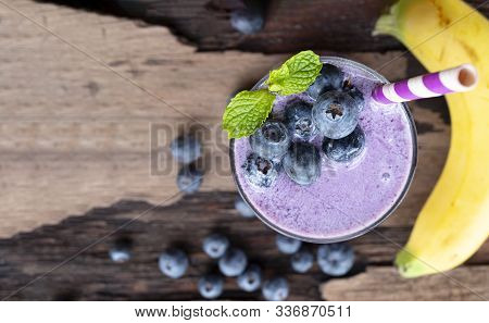 Blueberry Mix Banana Smoothie Purple Colorful Fruit Juice Milkshake Blend Beverage Healthy High Prot