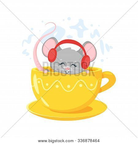 Smiling Mouse In Yellow Cup. Cute Little Animal Listening Music In Red Headphones. Mousy Cartoon Cha
