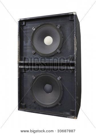 Big grungy bass blaster speaker box isolated on white