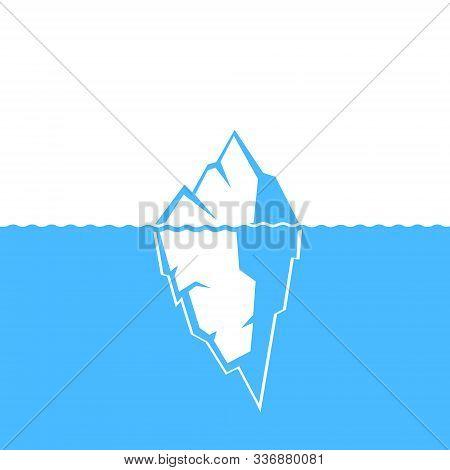 Waves And Iceberg Illustration Vector Icon Design.