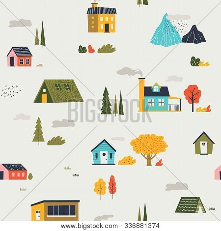Cute Houses Pattern. Funny Cartoon Kids Seamless Texture With Tiny Houses Trees And Mountain. Vector
