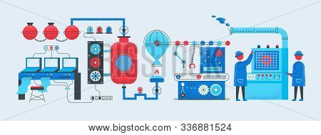 Factory Conveyor Concept. Industrial Manufacturing Technology Process, Computerized Smart Factory. P