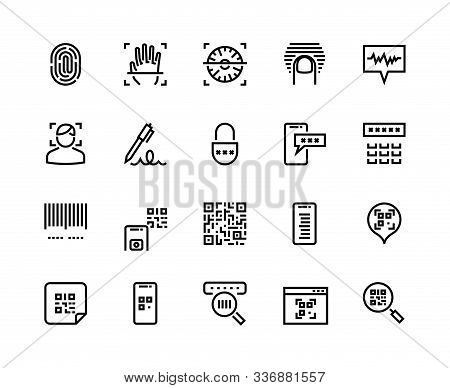 Identification Line Icons. Biometric Sensor, Face Recognition And Fingerprint Scanner Icons. Vector