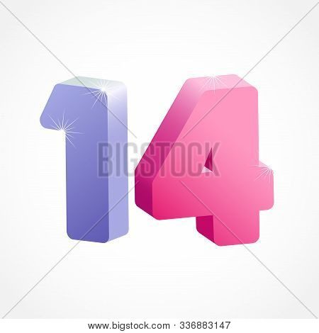 14 Th Anniversary Numbers. 14 Years Old Coloured Logotype. Age Congrats, Congratulation Idea. Isolat