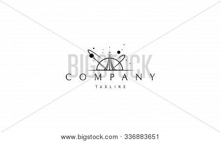 Vector Logo On Which An Abstract Image Of A Soaring Rocket Against The Background Of Stars And Plane