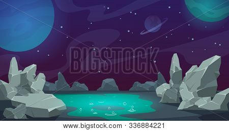 Space Background. Game Ui Cartoon Planet Landscape, Desert With Rocks And Stones. Vector Abstract Ca