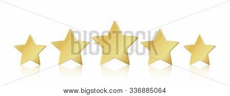 Five Gold Stars. 5 Star Rating Realistic Leadership Symbol. Glossy Yellow Metallic Winner Champion R