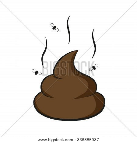 Vector Illustration Of Brown Poop With Fly.