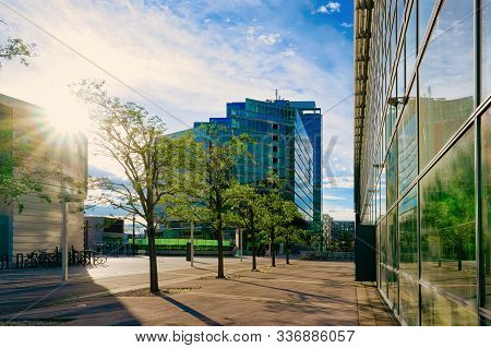 Sunset At Glass Business Office Building Architecture Modern City Vienna