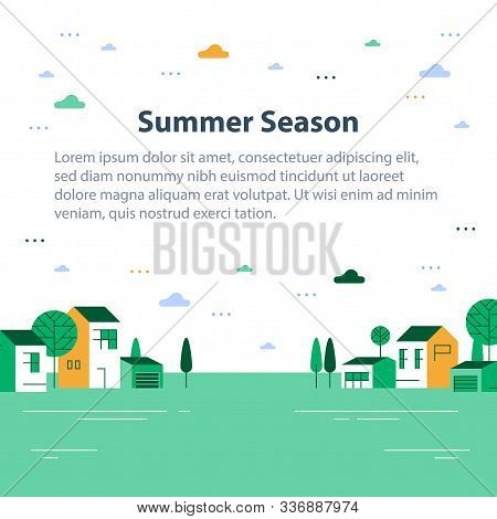 Summer Season In Small Town, Tiny Village View, Row Of Residential Houses, Beautiful Green Neighborh