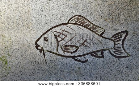 The Outline Of A Fish Carved In Stone, South Bohemia