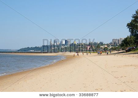 People playing soccer on the beach in Maputo, Mozambique