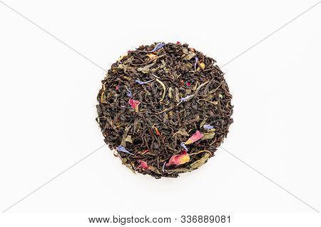 Dried Green And Black Tea Leaves With Petals Of Cornflowers, Roses, Calendula, Safflower On White Ba
