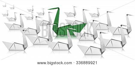 Thinking Outside The Box And Standing Out From The Crowd. One Green Paper Swanand And A Crowd Of Whi