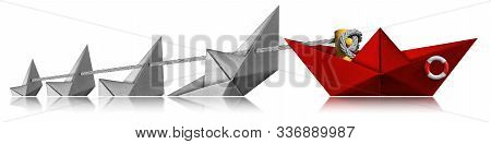 Rescue And Leadership Concept, A Red Paper Boat Of The Coast Guard Rescues Four White Boats That Are