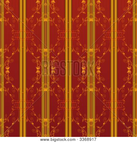 Illustration of a red and yellow vintage seamless pattern wallpaper poster